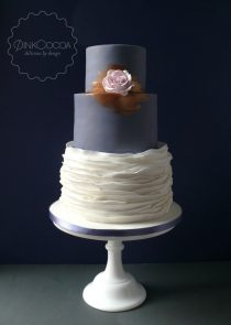 Copper Ruffles Wedding Cake