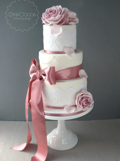 Dusky pink roses lace and pearls wedding cake pink cocoa mightylinksfo