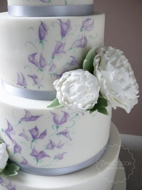 Peonies and sweetness wedding cake