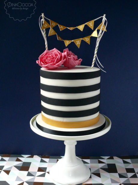 Black and white roses birthday cake