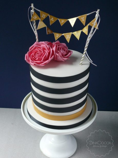 Black and white roses birthday cake