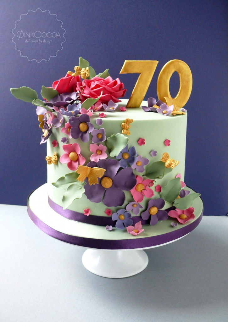 70th Floral Birthday Cake Pink Cocoa
