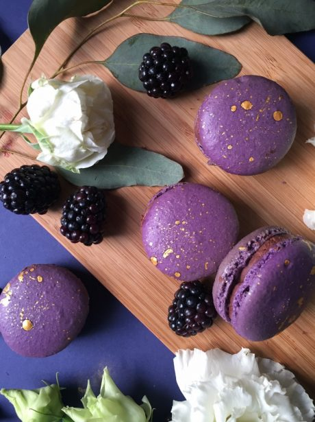 Blackberry and chocolate macarons wedding favours