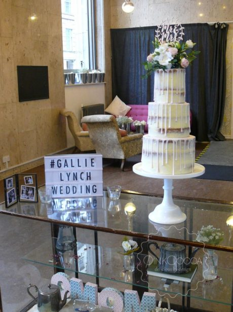 Semi naked drip wedding cake manchester