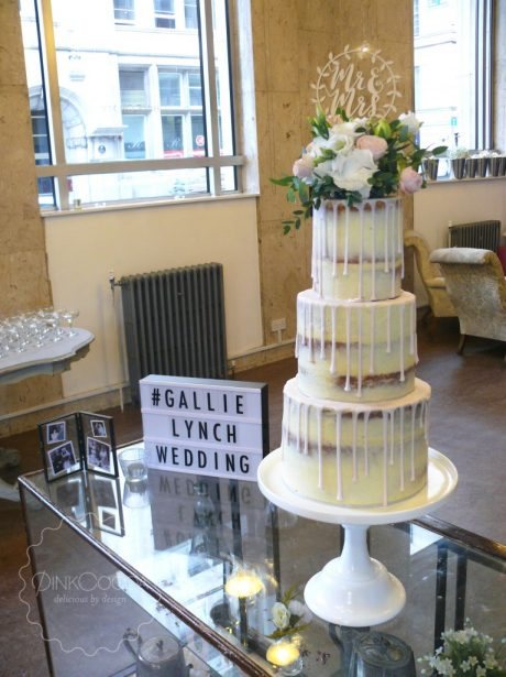 Semi naked drip wedding cake