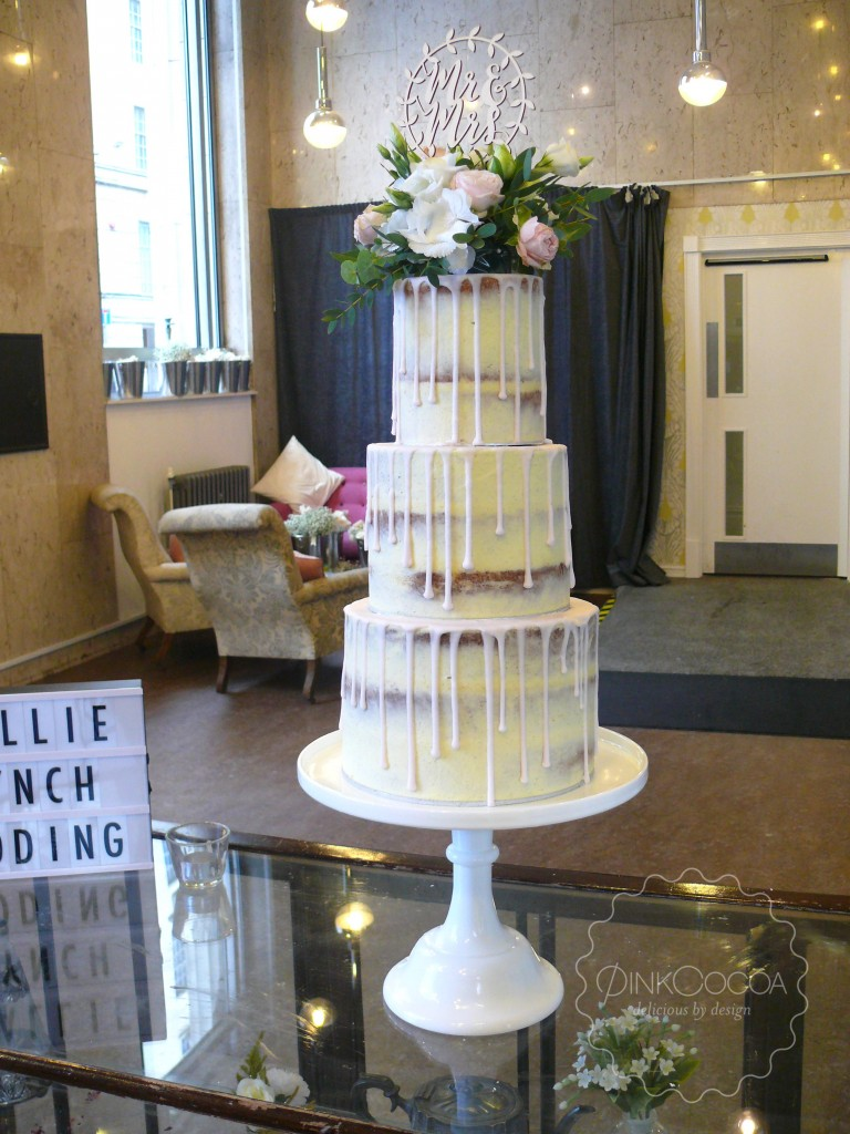 Semi Naked Drip Wedding Cake Pink Cocoa