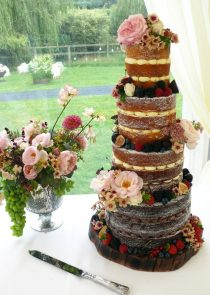 Naked summer fruits wedding cake manchester