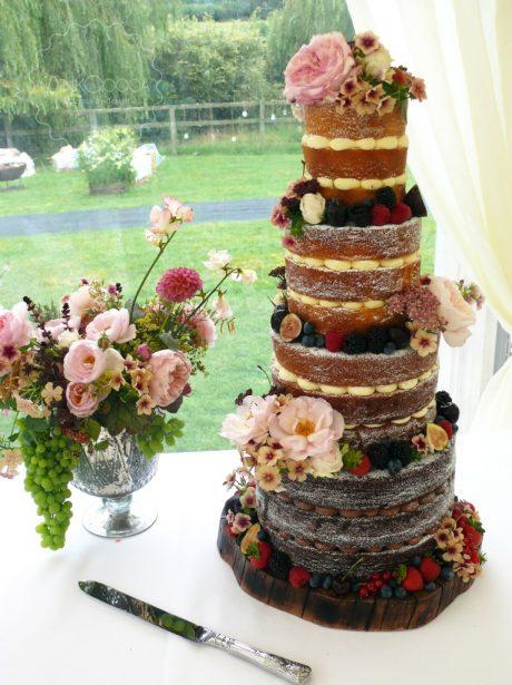 Naked summer fruits wedding cake manchester