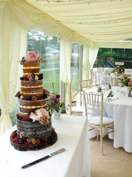 Naked summer fruits wedding cake