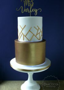 Graphic Gold wedding cake manchester