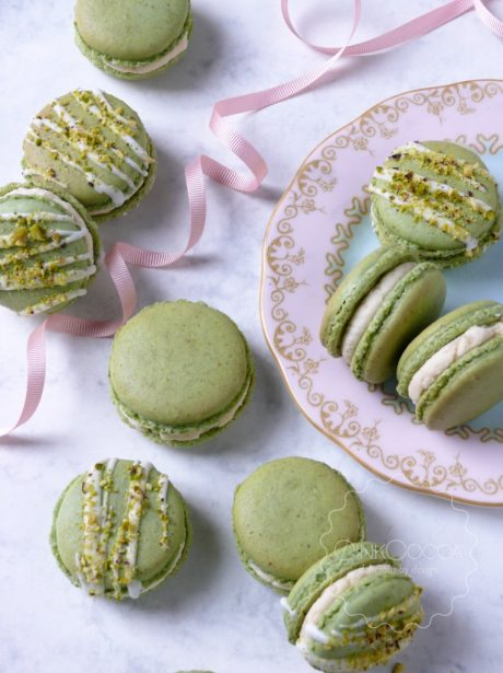 Pistachio and rosewater macarons wedding favours