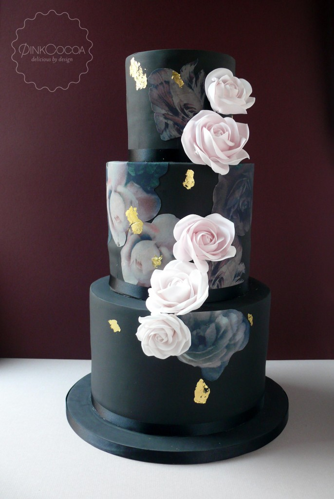 Black Printed Wedding Cake Pink Cocoa
