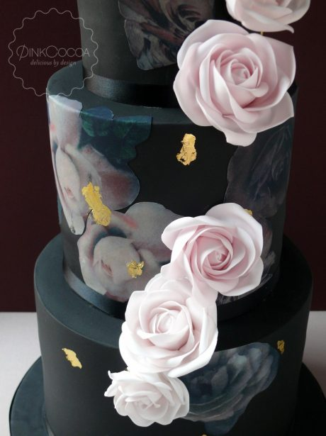 Black printed wedding cake