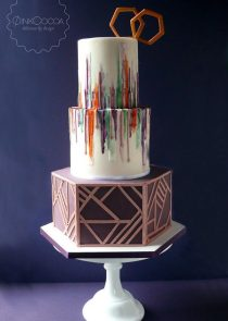 Hexagonal watercolour wedding cake manchester