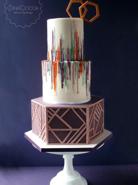 Hexagonal watercolour wedding cake manchester