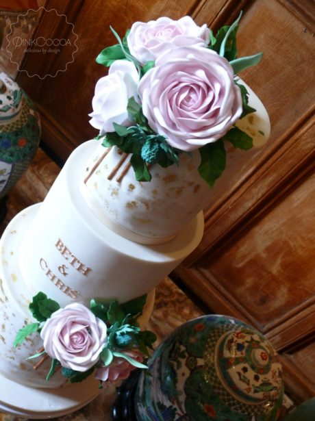 sugar roses drips wedding cake