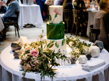 Painted Green Wedding Cake