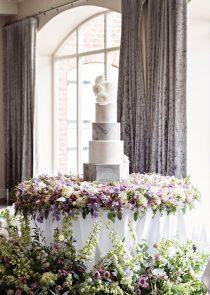 Sliver marble wedding cake