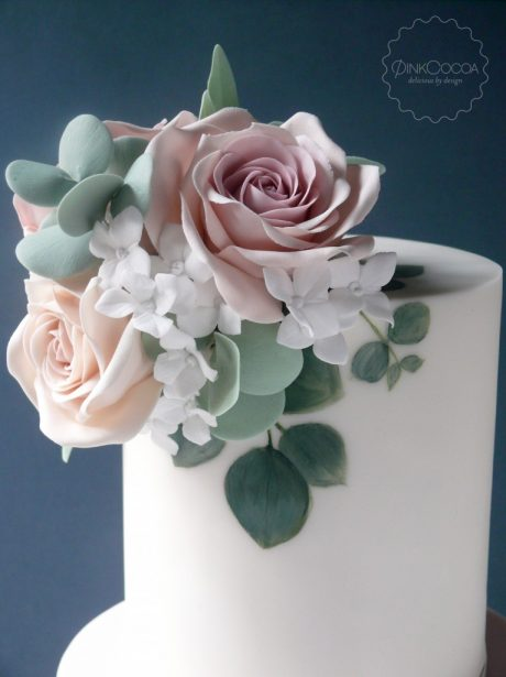Painted eucalyptus wedding cake