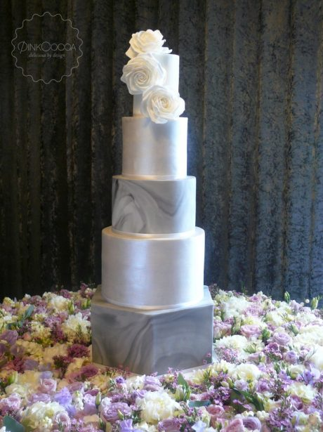 Sliver marble wedding cake