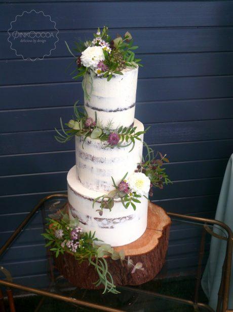 Semi naked wedding cake manchester