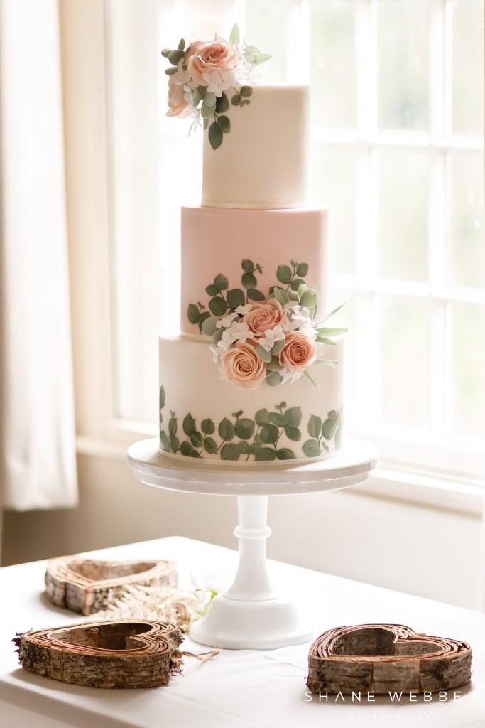 Painted Eucalyptus Wedding Cake Pink Cocoa