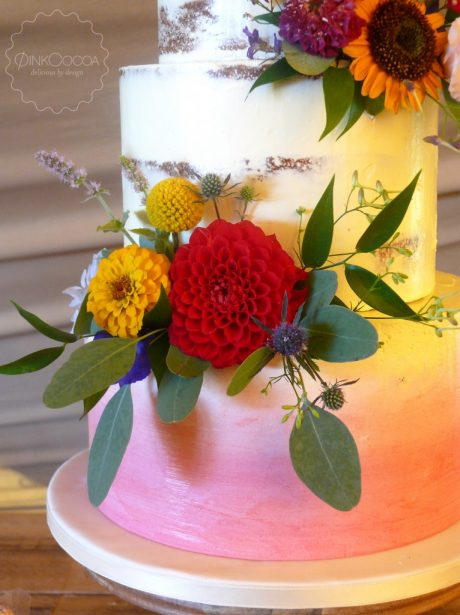 Bright ombre semi naked cake