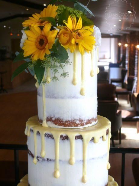 Sunflowers Semi Naked Wedding cake