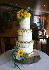 Sunflowers Semi Naked Wedding cake